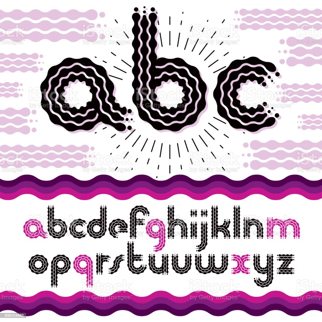 Vector Funky Lower Case English Alphabet Letters Abc Collection Rounded Bold Retro Type Font
