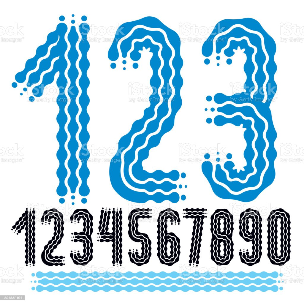 Vector funky, ornate numbers collection. Rounded bold numerals from 0 to 9 can be used in retro, disco, pop poster design. Created using waves, flowing lines. vector art illustration