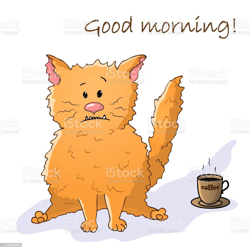 Vector Lustiges Tier Niedliche Verrückte Katze Postkarte Mit