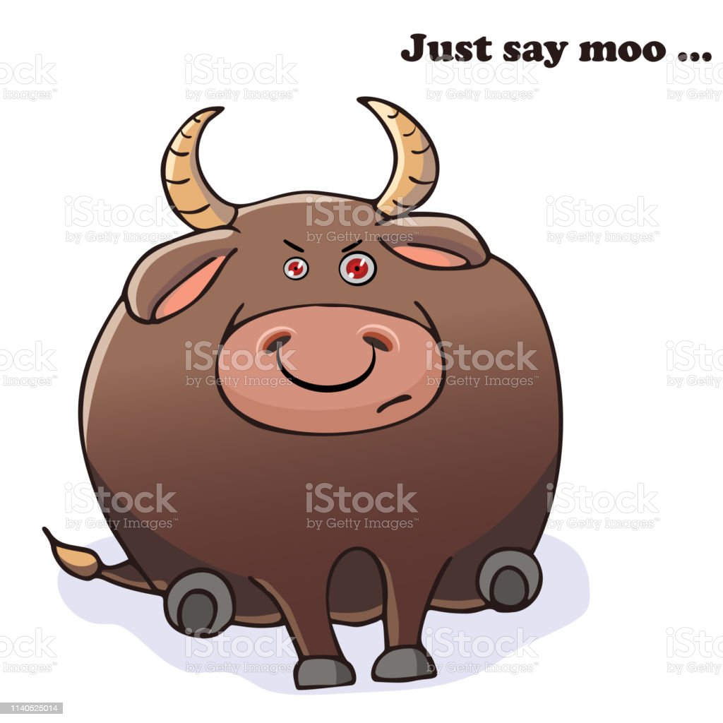 Vector funny animal. Funny angry bull. Postcard with a comic phrase....