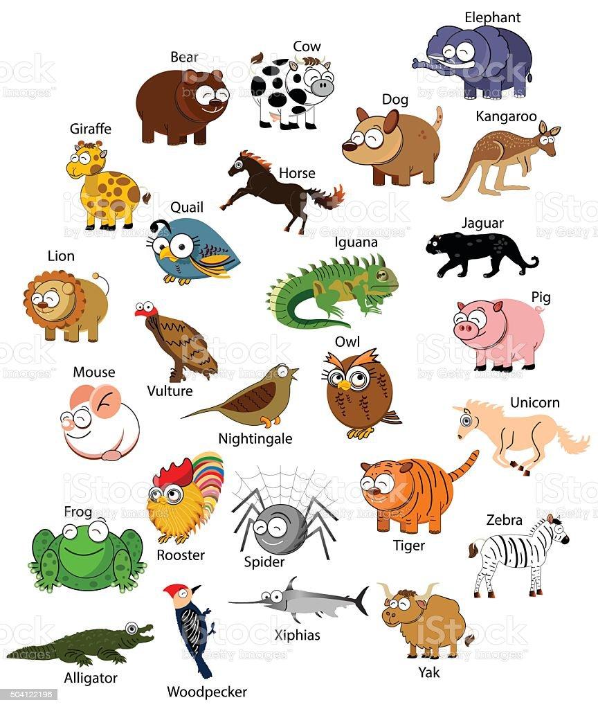 vector funny animals vector art illustration