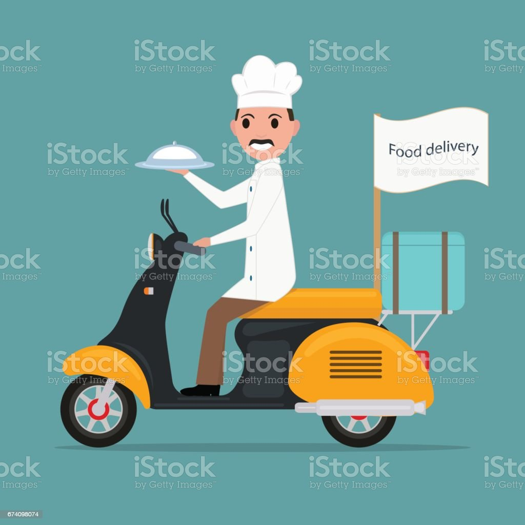 Vector funny cartoon chef cook man scooter food royalty-free vector funny cartoon chef cook man scooter food stock vector art & more images of adult