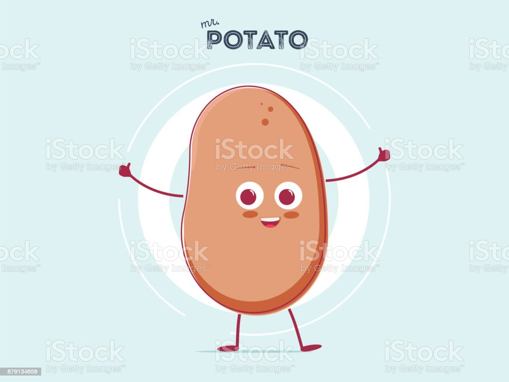 vector funny cartoon cute brown smiling tiny potato isolated on white background. My name is potato vector art illustration