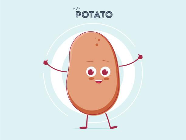 vektor-lustige cartoon niedliche braune lächelnd kleine kartoffel isoliert auf weißem hintergrund. mein name ist kartoffel - kartoffeln stock-grafiken, -clipart, -cartoons und -symbole