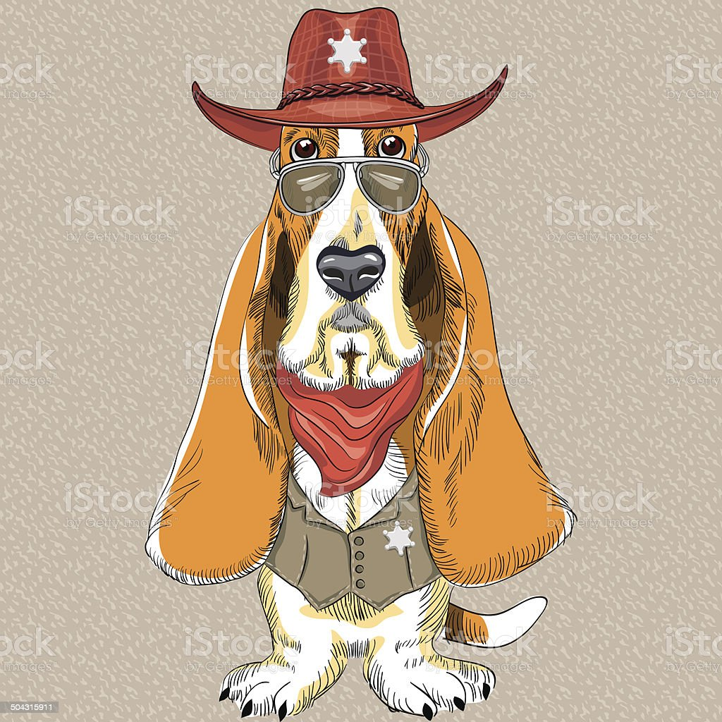 Vector Funny Cartoon Hipster Dog Basset Hound Stock Illustration Download Image Now Istock