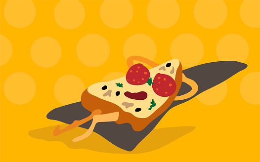 Vector funny cartoon pizza slice in sunglasses made of sausage circles