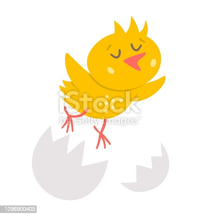 istock Vector funny chick icon. Spring, Easter or farm little bird illustration. Cute yellow just hatched chicken flying out of egg shell isolated on white background. 1296900403