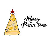 Vector funny Christmas greeting card with pizza evergreen tree and star. Merry pizza time quote text. Digital funny illustration, happy family winter holidays