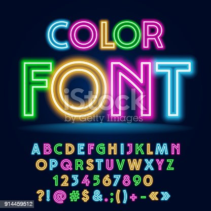 istock Vector Funny Colorful Neon Font 914459512