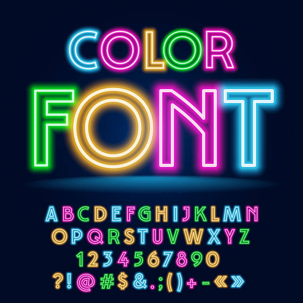 vector funny colorful neon font - glowing stock illustrations, clip art, cartoons, & icons
