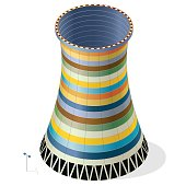 Vector funny, colorful, striped, cooling tower of nuclear power plant.