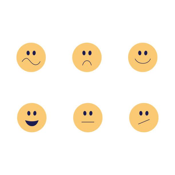 vector lustiges emoji-lächeln flaches icon - smileys zum kopieren stock-grafiken, -clipart, -cartoons und -symbole