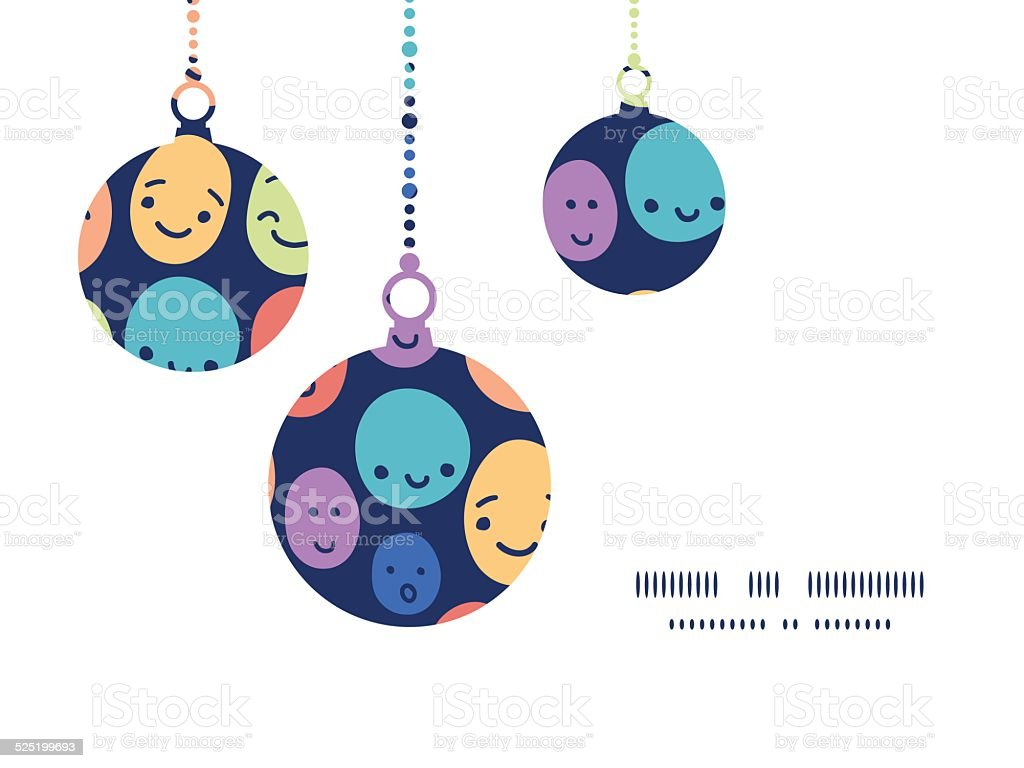 vector funny faces christmas ornaments silhouettes pattern frame