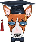 Vector graduated dog Bullterrier breed in glasses and bow tie