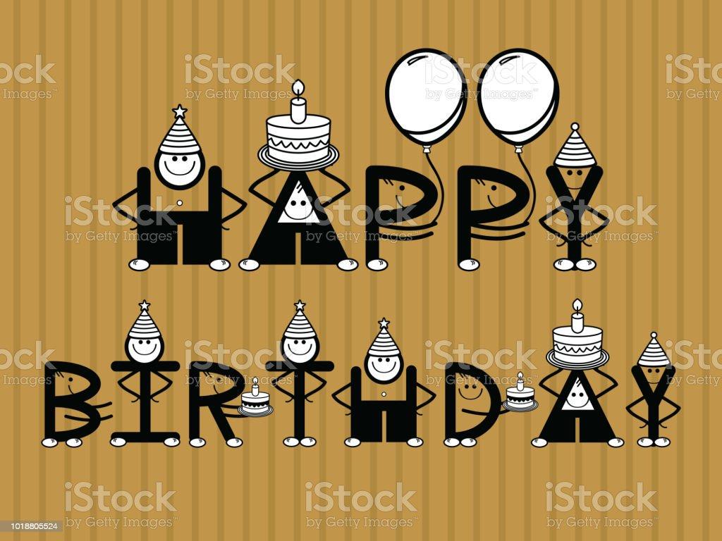 Vektor Lustige Happy Birthday Greeting Card Mit Text Lizenzfreies