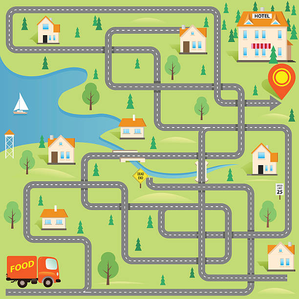 Vector Funny Maze Game: Delivery Driver in this Small City Vector Funny Maze Game: Help for Delivery Driver Find the Hotel in this Small City. Map of Cartoon Town. Cover Design urban road stock illustrations