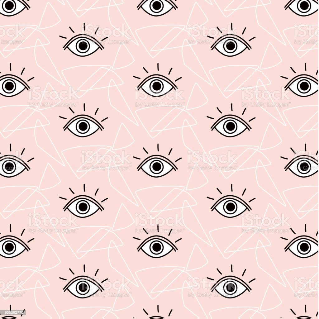 Vector funny opened eyes pattern. Simple cute modern background with eyes. Contemporary stock design