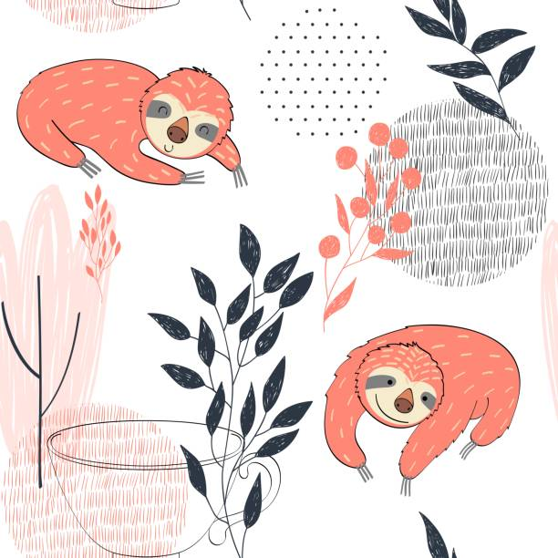 Vector funny sloths Seamless pattern. Vector hand drawn illustration with funny sloths. baby sloth stock illustrations
