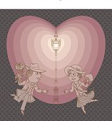 Vector funny Valentine greeting card with street light and a loving couple on a date. Humorous illustration with pink heart shape. Invitation card, poster, T-shirt print, book cover