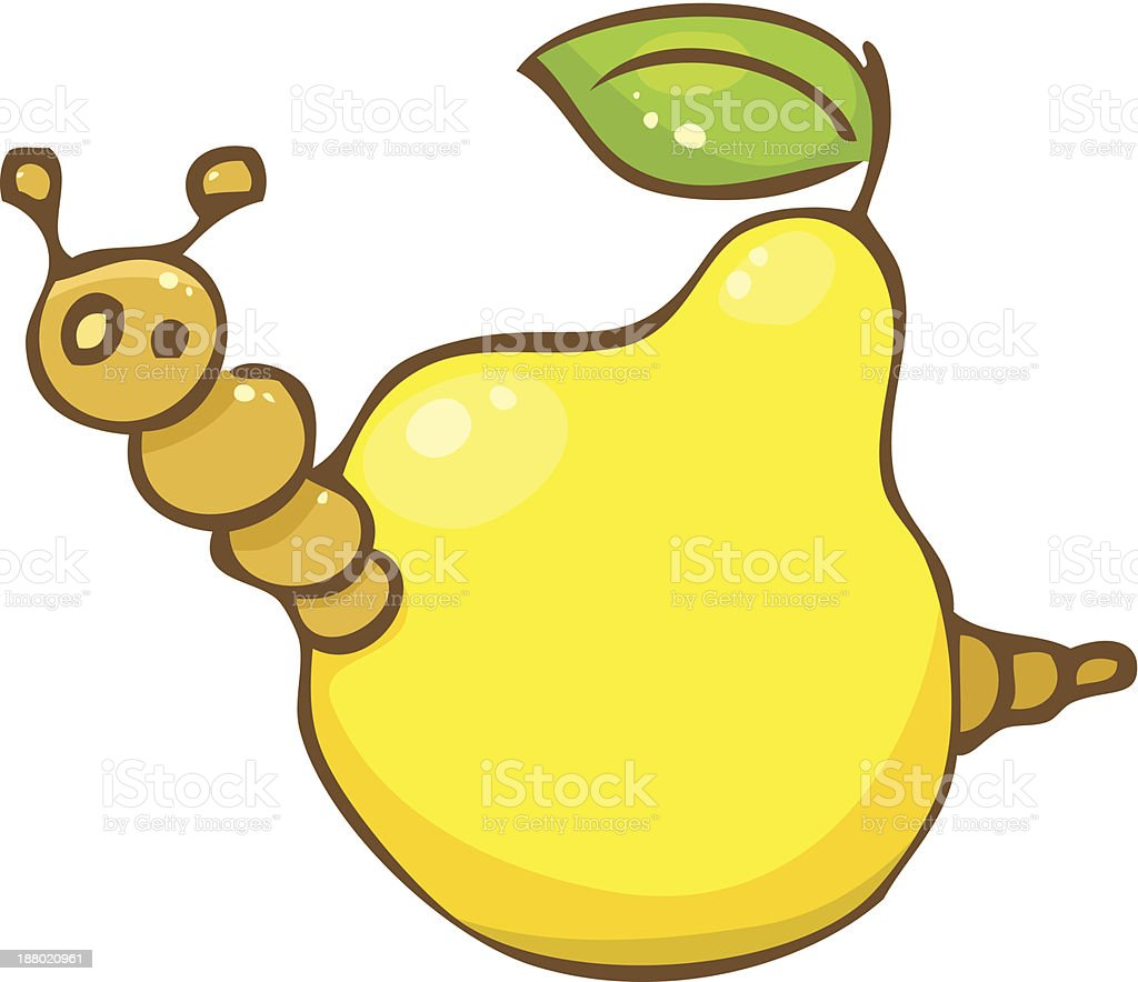 Vector. Funny worm in the pear