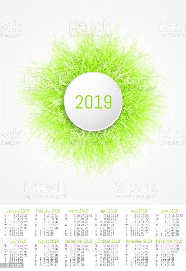 Vector Fur Design Calendar 2019 Stock Illustration