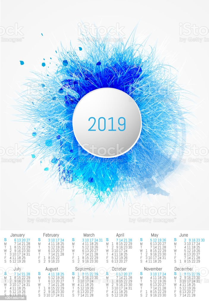 Vector Fur Design Calendar 2019 Stock Illustration