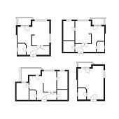 Vector  furniture architect plan of building set Flat Design