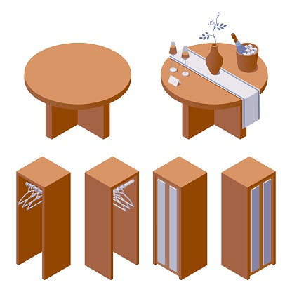 Vector furniture collection with decorated hotel table with rose in vase and sparkling wine and cupboard for clothes in isometric style. 3d modern set good for interior room design and building scene.