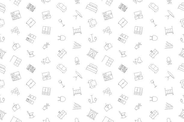 bildbanksillustrationer, clip art samt tecknat material och ikoner med vector möbler mönster. möbler sömlös bakgrund - möbel