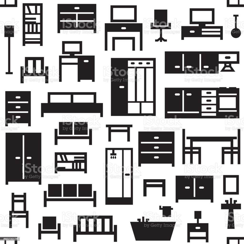 Vector furniture seamless pattern background 4 royalty-free vector furniture seamless pattern background 4 stock vector art & more images of apartment