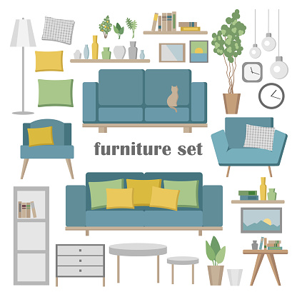 Vector furniture set. Elements for the living room with sofa, table, chair, shelves, lamp, clocks and other elements. Flat vector Illustration of objects for decoration and Interior design.