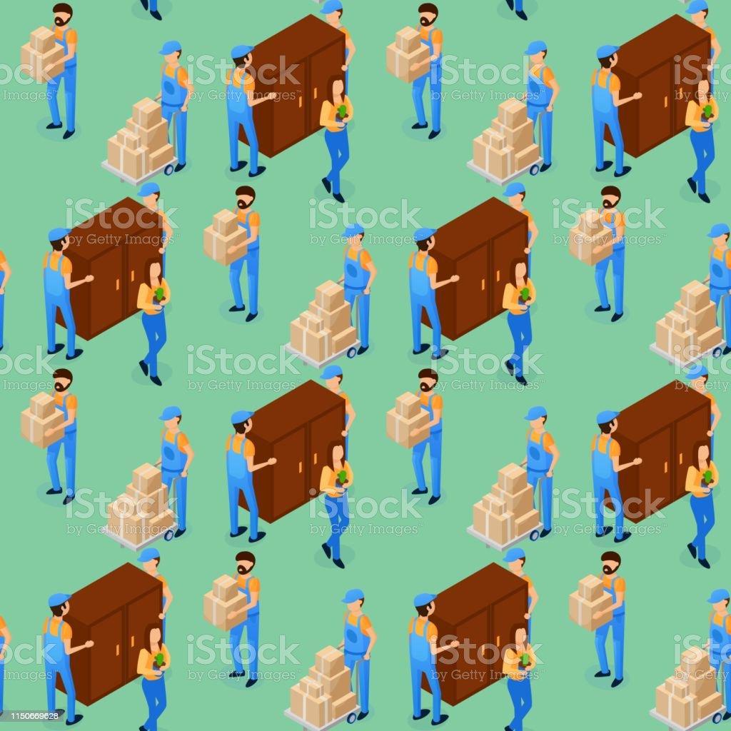 Vector Illustration Furniture Transportation. Male Loader in Overalls...