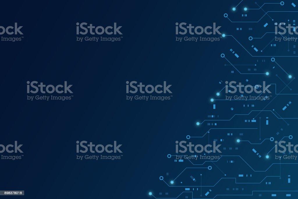 Vector futurista de placa de circuito, placa eletrônica, comunicação e engenharia conceito, conceito de tecnologia digital de alta tecnologia - ilustração de arte em vetor