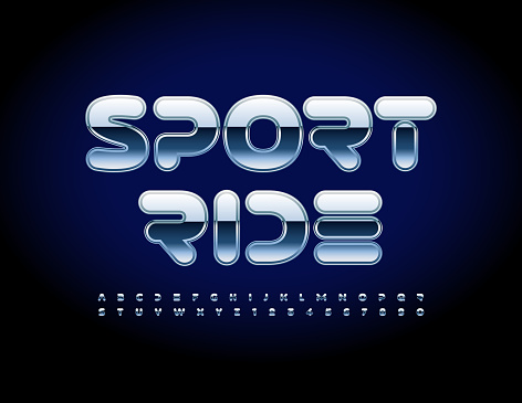 Vector futuristic sign Sport Ride with shiny Alphabet Letters and Numbers set