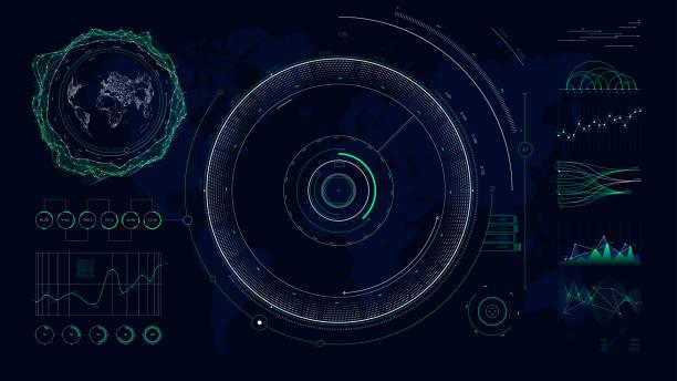 vector futuristic user interface hud design graphs and charts, global digital network communications map world - radar stock illustrations