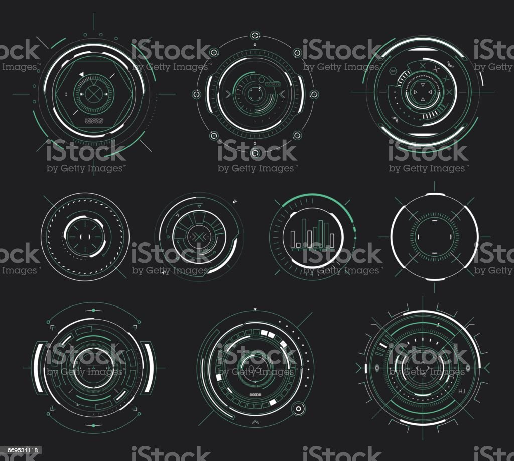Vector futuristic user interface HUD, sci-fi display circular elements vector art illustration