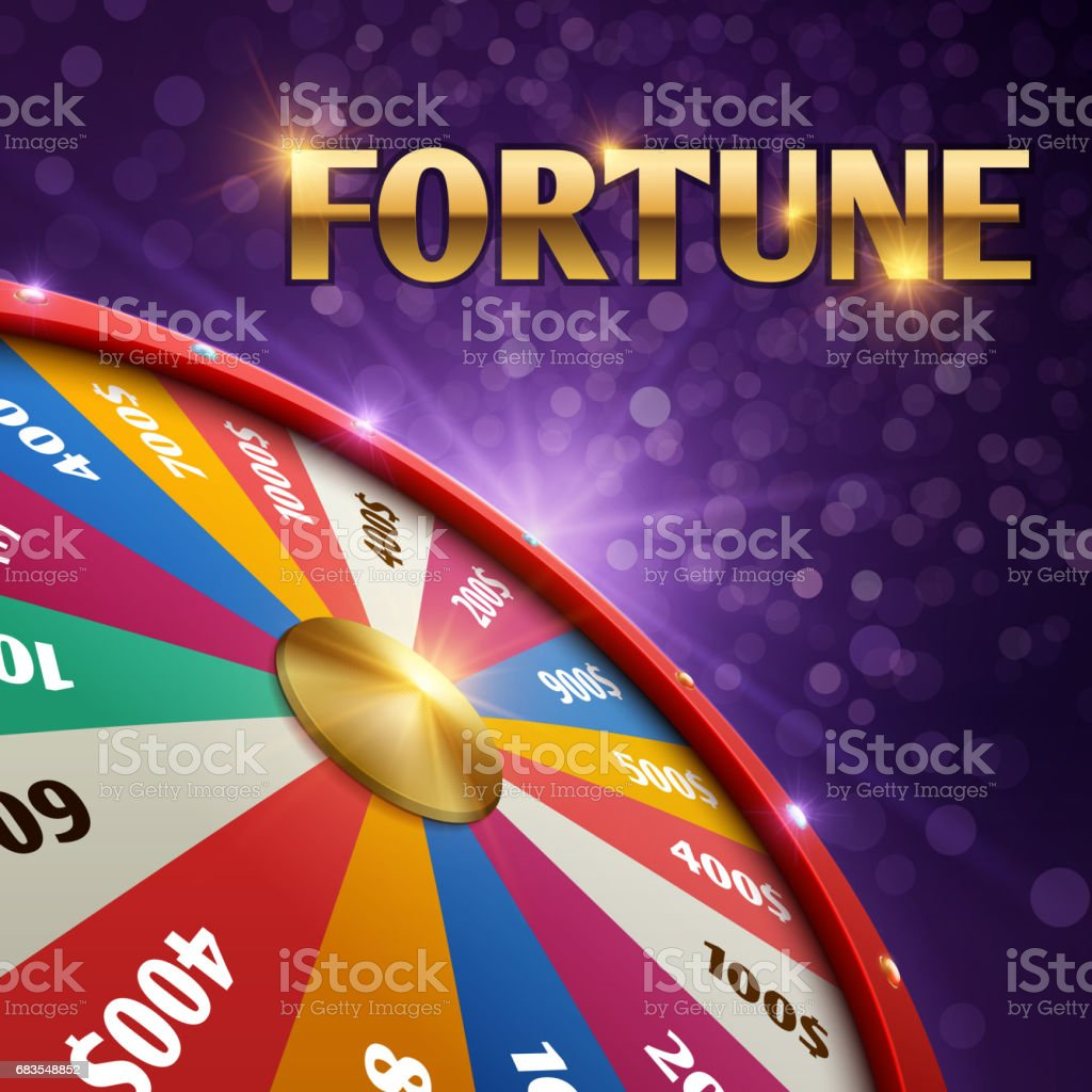 Vector gambling background with 3d fortune chance wheel vector art illustration