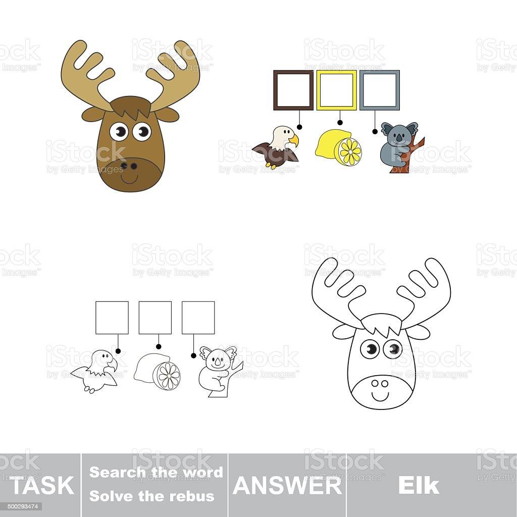 Vector game. Find hidden word Elk. Search the word