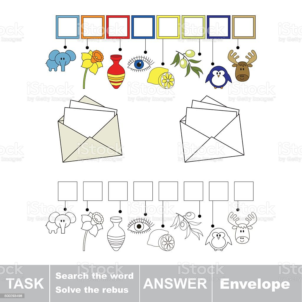 Vector Game Find Hidden Word Envelope Search The Word Stock Vector