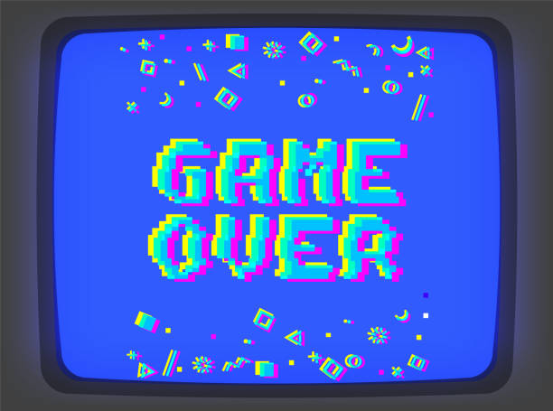 Vector game over pixel glitch Vector game over phrase in pixel art 8 bit style with glitch VHS effect. Three color half-shifted letters. Ocassional pixels and modern geometric decor elements around placed on old blue TV screen leisure games stock illustrations
