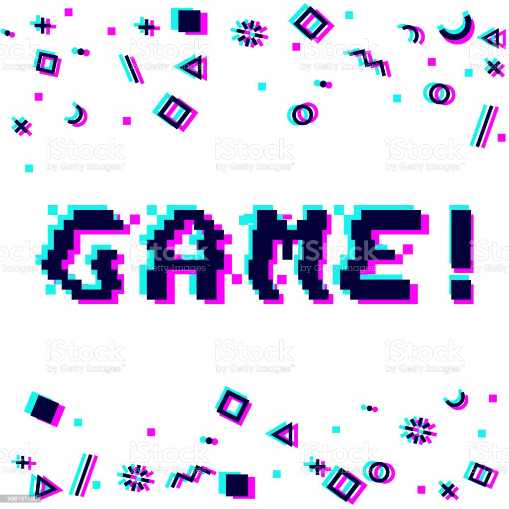 Vector Game Pixel Glitch Stock Illustration - Download Image Now