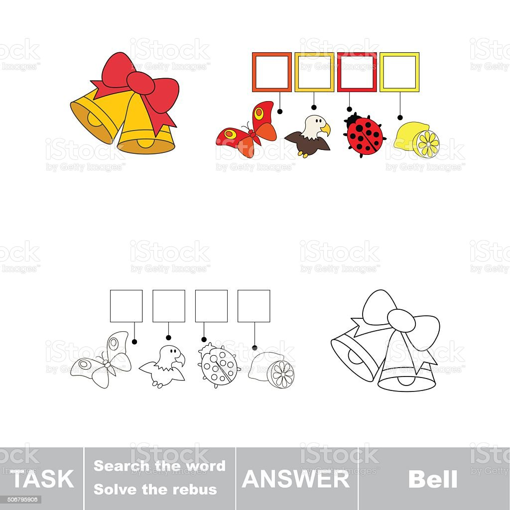 Vector Game Search The Word Find Hidden Word Bell Stock Vector Art