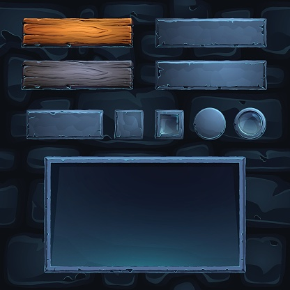 Vector game UI bars, frame and buttons illustration.