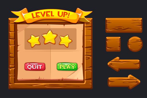 stockillustraties, clipart, cartoons en iconen met vector spel ui kit. sjabloon houten menu van de grafische user interface gui en knoppen om 2d-games te bouwen. lint niveau omhoog, ster iconen en play knoppen en stoppen. - vrijetijdsspel