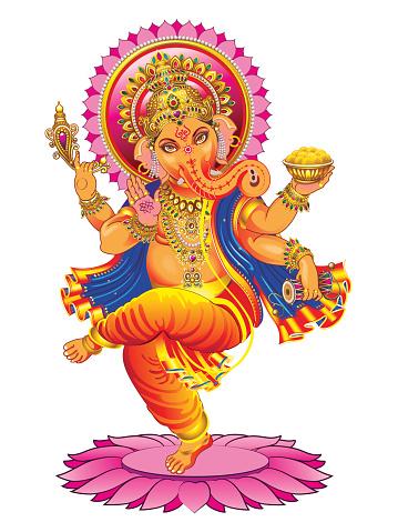 Vector Ganesha on a white background