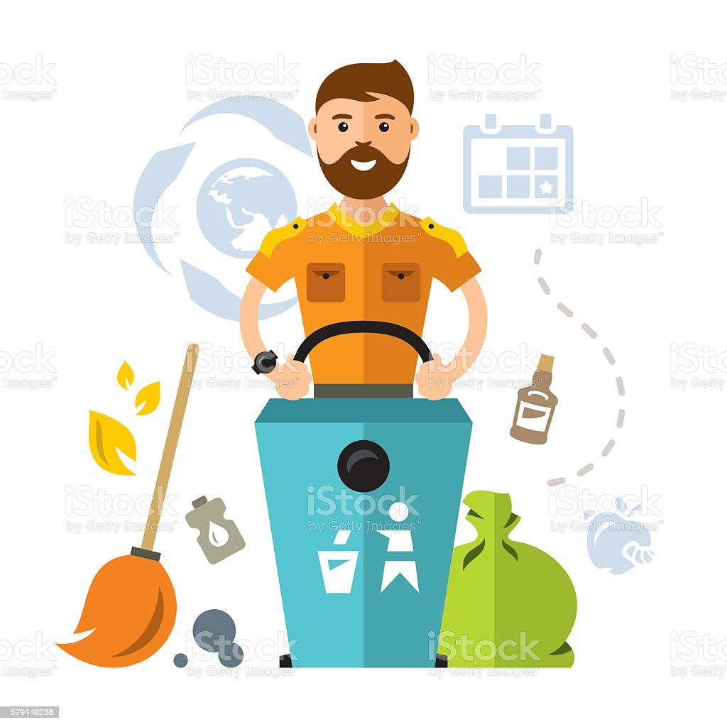 Vector garbage collector. Flat style colorful Cartoon illustration. - ilustración de arte vectorial