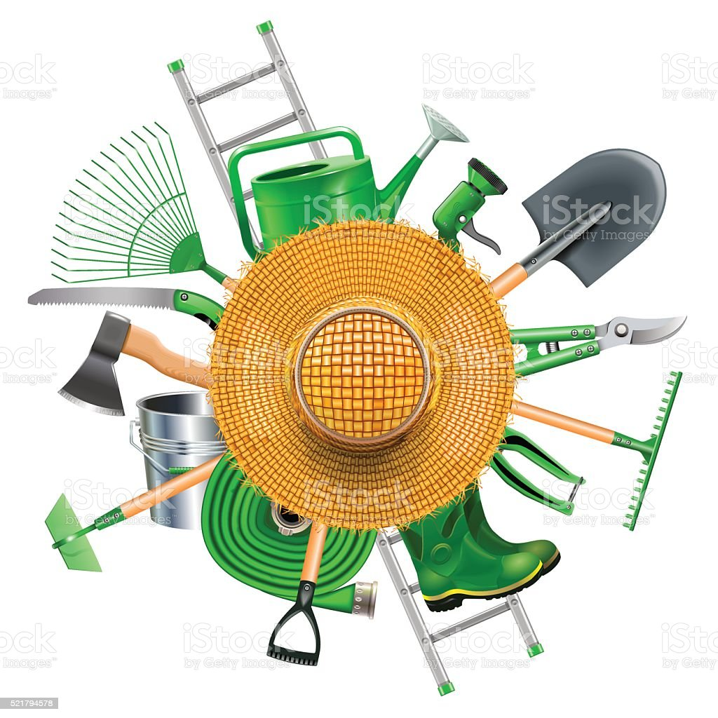 Vector Garden Accessories with Straw Hat vector art illustration