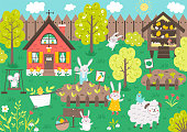 Vector garden scene with cute animals. Spring scenery with funny bunny, cottage, sheep, mouse, chicks gardening. Cute Easter illustration with rabbit family house, fence and flowers.