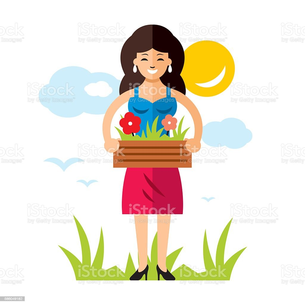 Vector Gardening Woman with flowers. Flat style colorful Cartoon illustration. vector art illustration