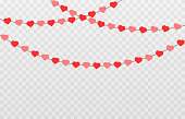 istock Vector garland of hearts. Hearts for Valentine's Day. Garland png, hearts png. Garland of love on an isolated transparent background. 1292420864